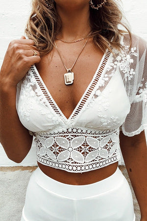 Sexy White Lace See-through Crop Top