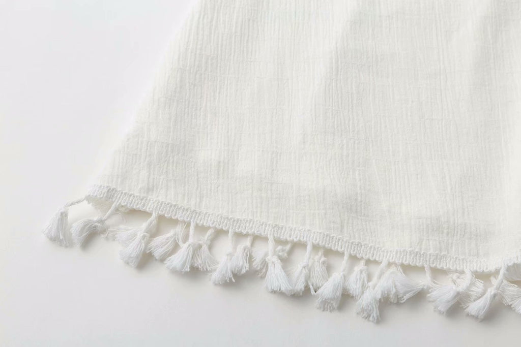 Cotton Tassel Bohemian Tie Dress -White