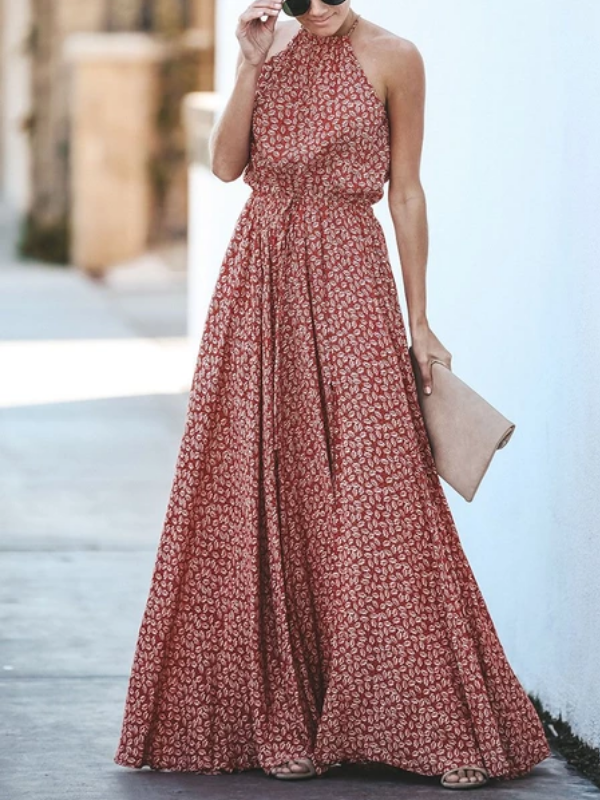 Floral Hanging Neck Tie Dress