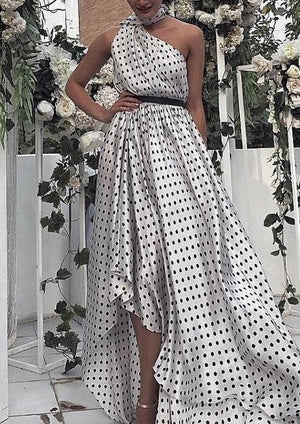 Commuting Polka Dot Sloping Shoulder Belted Evening Dress
