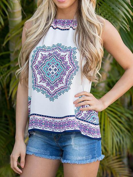 Summer Printed shirt sleeveless T-shirt Women Top