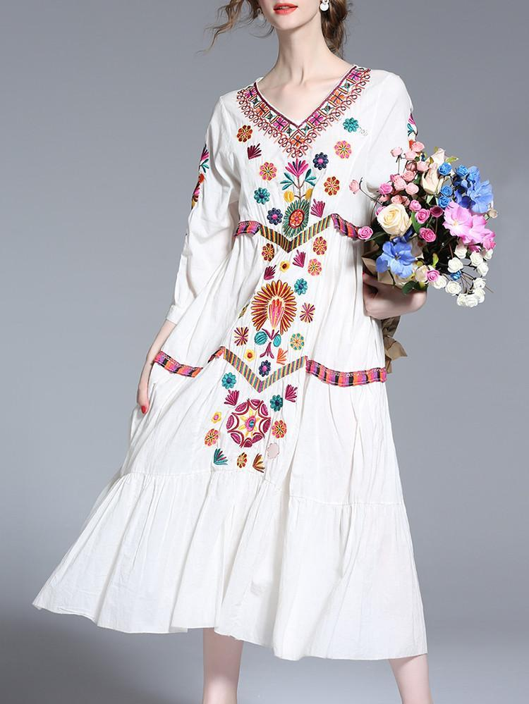 Summer Women Long Embroidery Cotton White Casual Dress