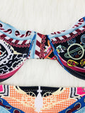 Ethnic Floral Printed Two Piece Bikini Set Boho Swimsuit