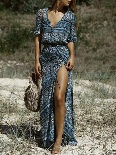 Women Loose Bohemian Stripe Printed Casual Boho Beach Long Dress
