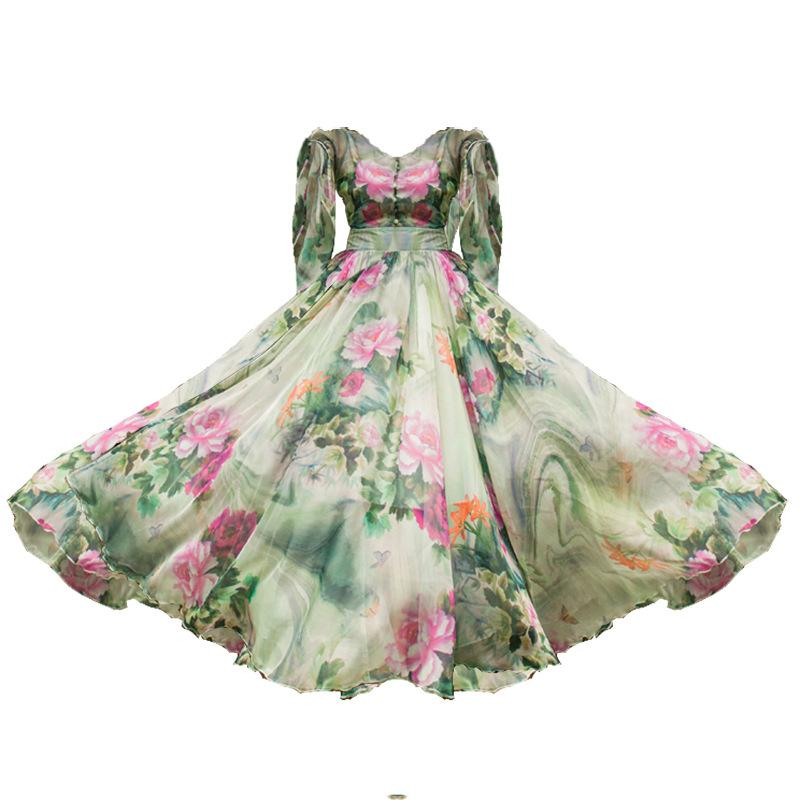 Chiffon Lotus Vacation Dress-2color