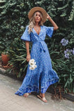 Cotton Blend Bohemian V Neck Maxi Dresses