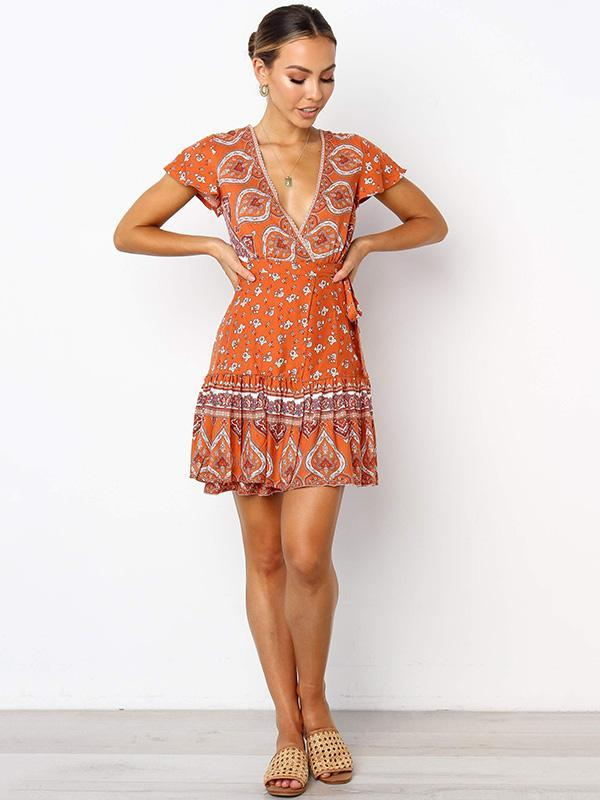 Floral Flared Sleeves V-neck Orange Mini Dress