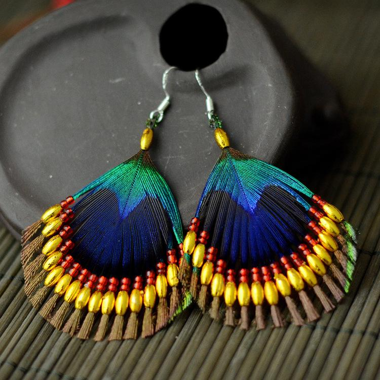 Handmade Bohemian Ethnic Earrings Feathers  Accessories