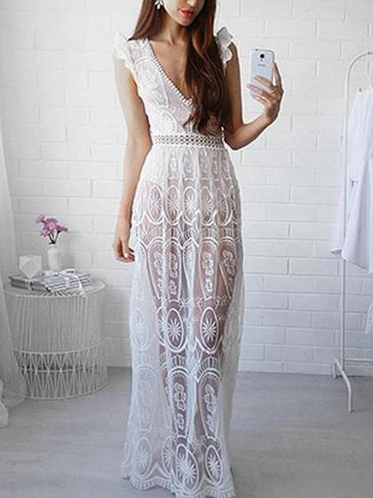 White Plunge Lace Open Back Sleeveless Maxi Dress