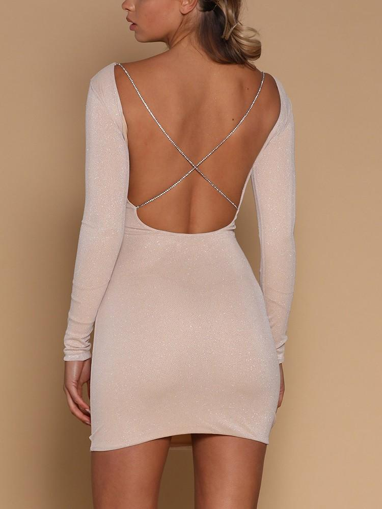 Shiny Crisscross Open Back Bodycon Mini Dress