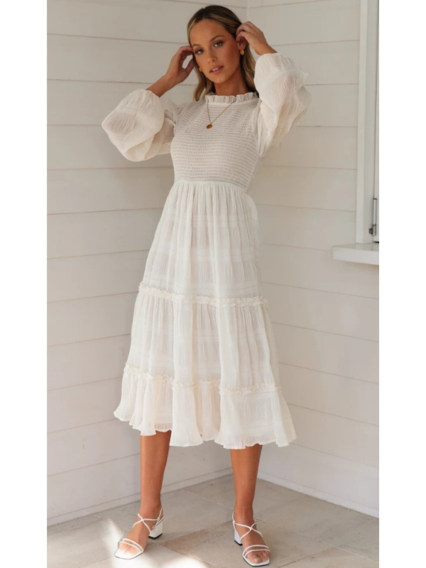 Bubble Lantern Sleeve Waist Slim Folded Long Chiffon Dress