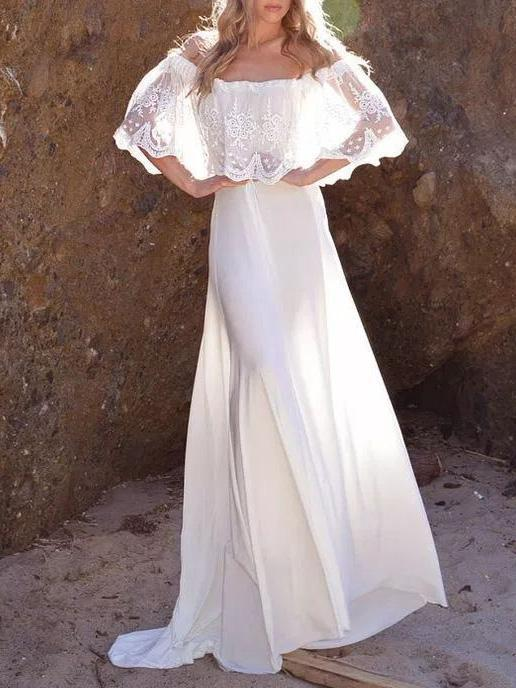 Split-joint Lacy Off-the-shoulder Maxi Dress