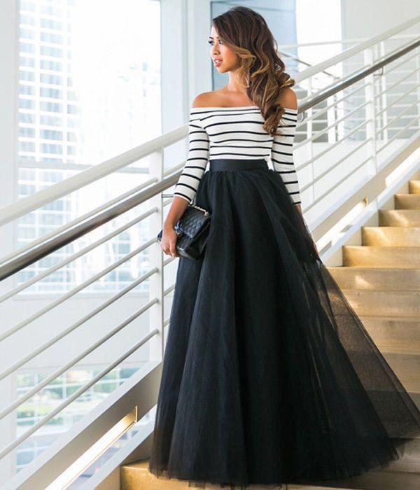 One-striped Striped Mesh Gown Dress