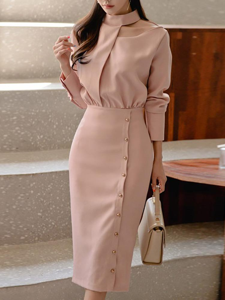 Mock Neck Fake Two Piece Bodycon Dress