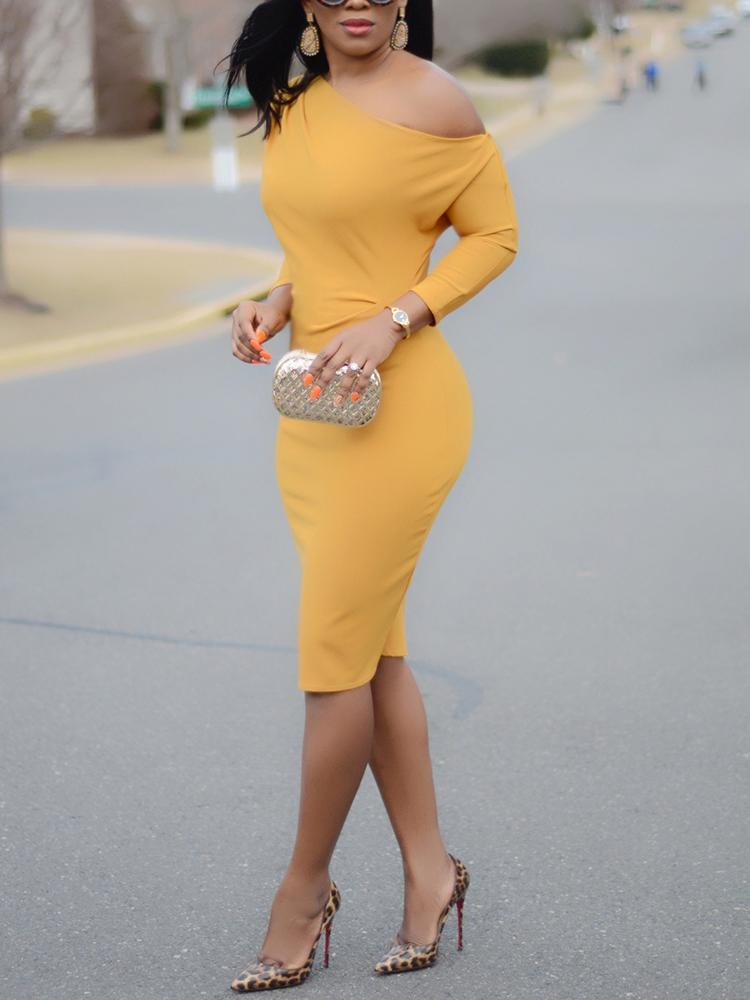Sexy Yellow One Shoulder Midi Dress