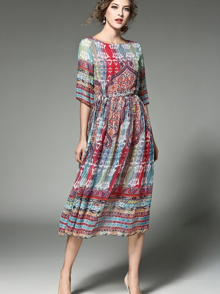 Women Designer Runway Chiffon Printed Long Dress