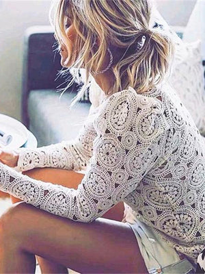 Beige Lace Stitching Embroidery Blouse