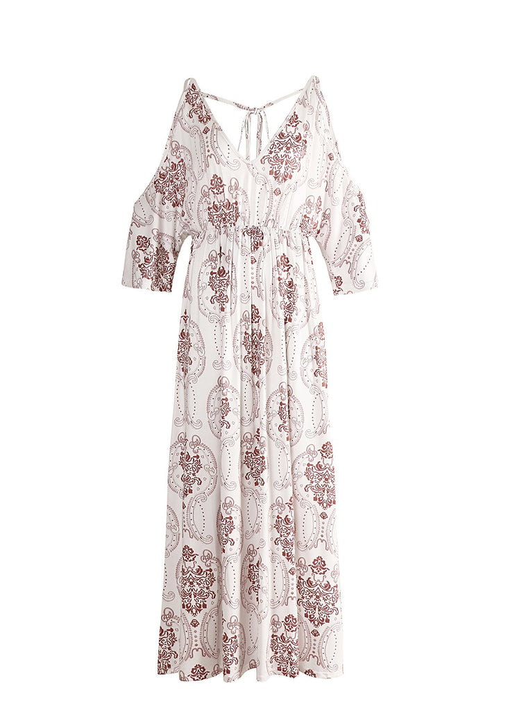 Sexy beach holiday wind strap White Floral White Maxi dress