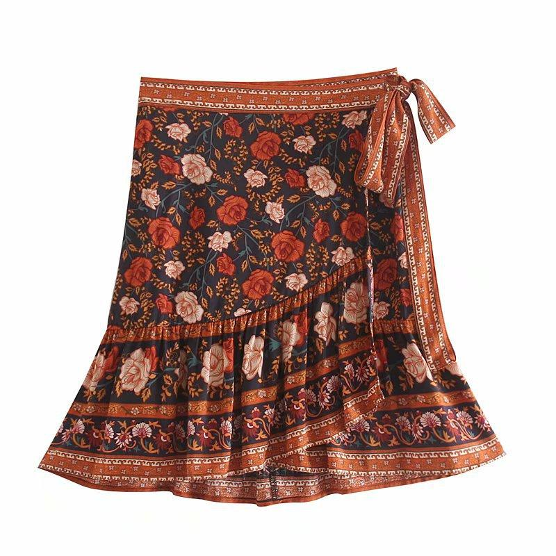 Bohemian Two-tone Rose Tie Skirt-2color
