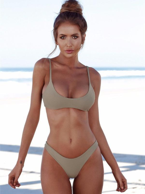 Simple Triangle Brazilian Two Piece Bikini Swimsuit