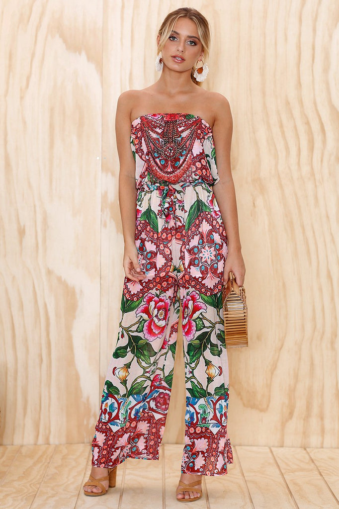 Fashion Tube Top Print Loose Jumpsuit