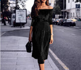 Off Shoulder Pleated Velvet Long Sleeves Midi Dress