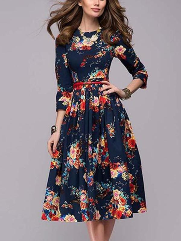 Round Neck Floral Printed Midi Dress