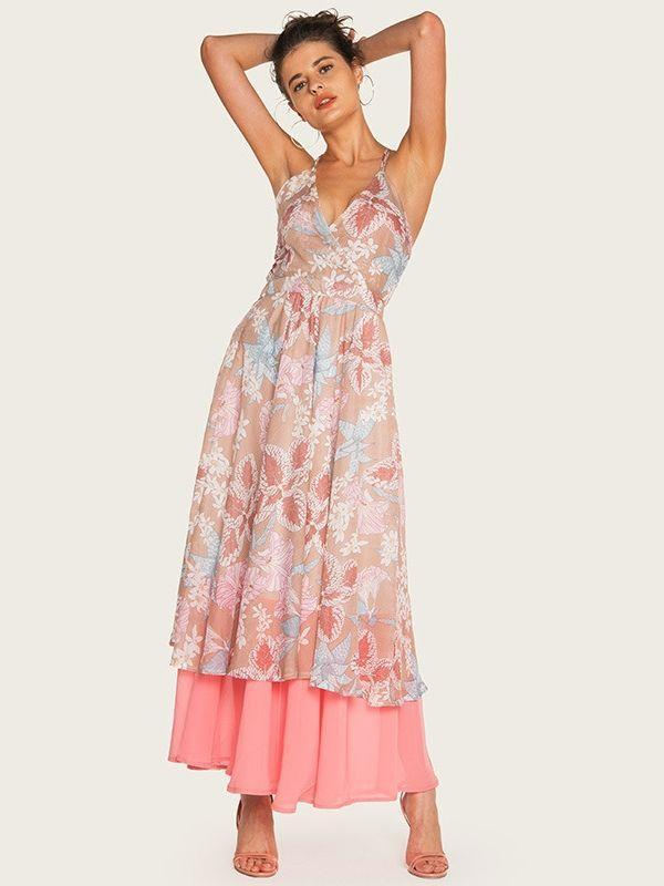 Bohemian holiday sling print dress