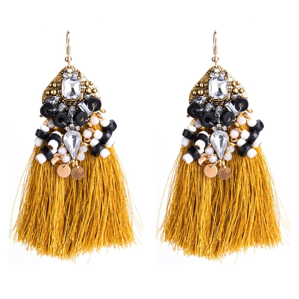 Wooden beads tassel earrings hand-woven earrings bohemian