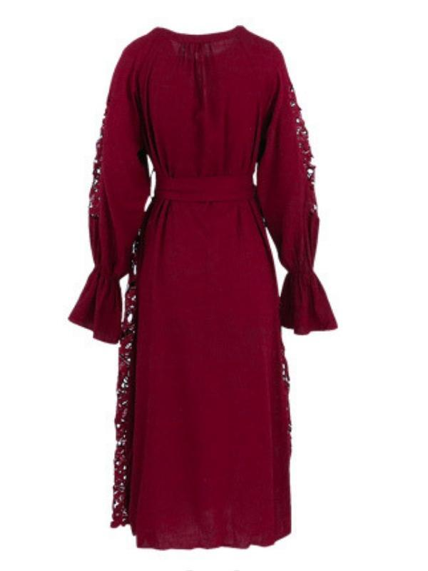Cutout Embroidered Wine Red Holiday Dress