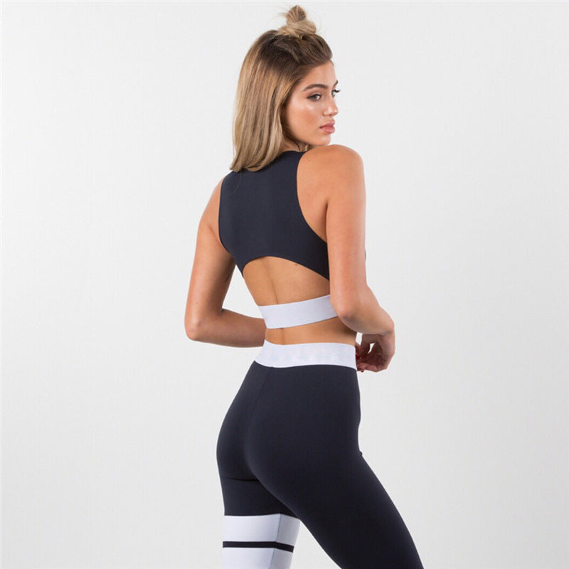 Fitness Two Pieces Set Backless Crop Top Bra + Elastic High Waist Leggings