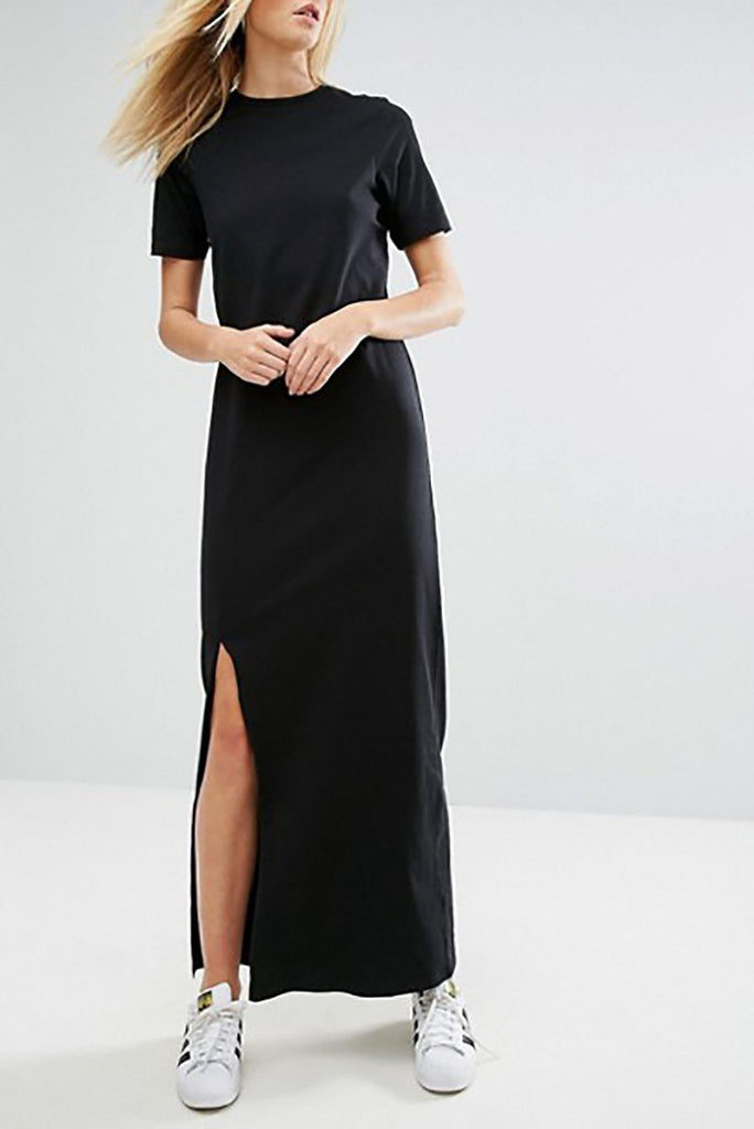 SIDE SLIT MAXI TEE DRESS