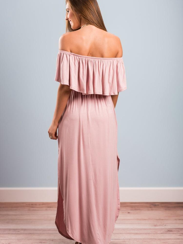 Off Shoulder Ruffle Party Dresses Side Split Beach Maxi Dress