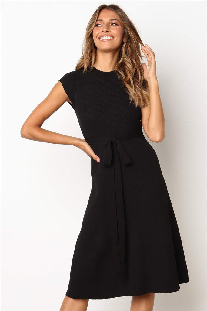Fashion Crew Neck Tie Knit Sweater Dress-3color