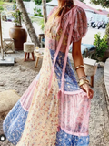 Bohemian Color Matching Print Fairy Beach Maxi Dress
