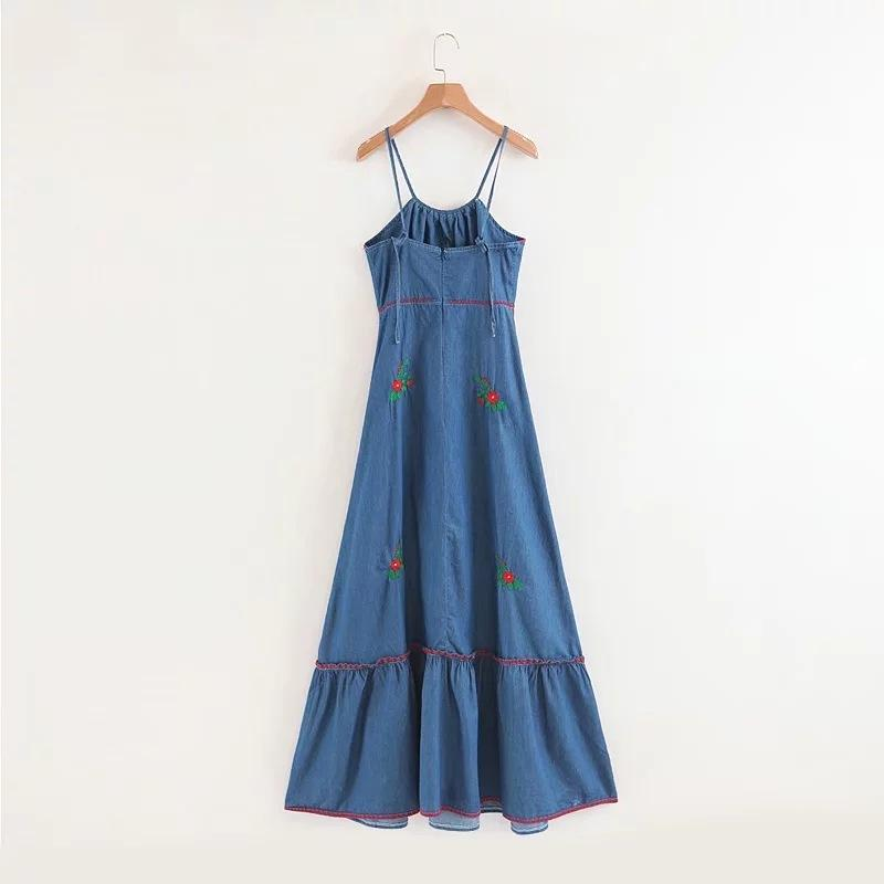 Outer Neck Flower Embroidery Denim Holiday Wind Frill Strap Dress
