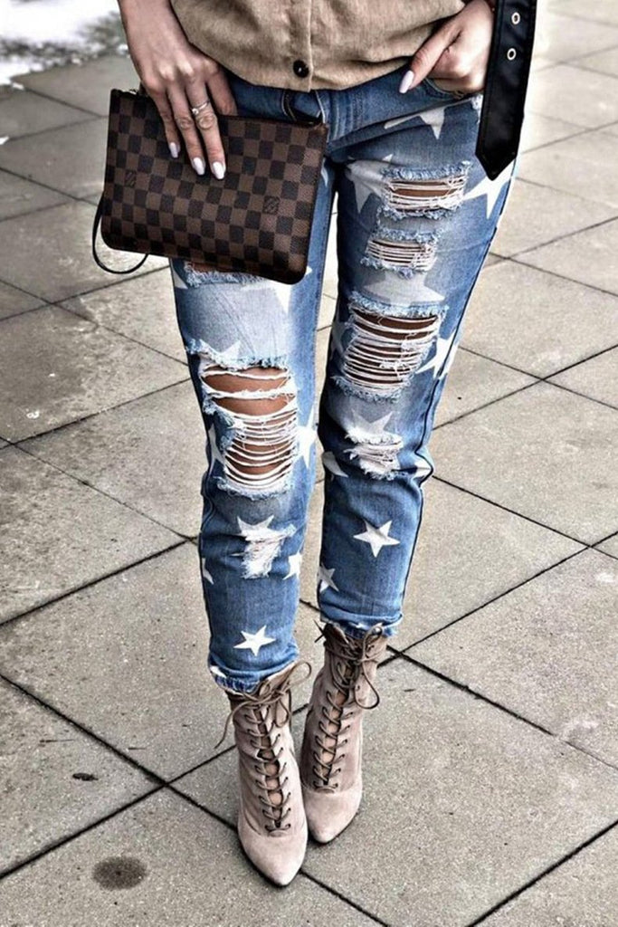 Stars Feet Tights High-rise Hole Jeans