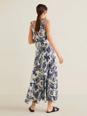Summer Women's Floral Printed V-Collar Sleeveless Backless Holiday Casual Midi Dress