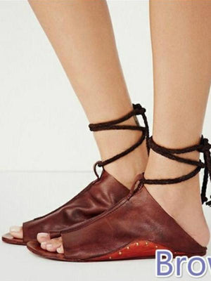 Flat Style Ankle Strap Soft Leather Sandals