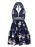 Sexy Backless Lace Up Deep V Neck Floral Mini Dress - Navy