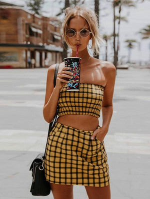 Fashion Yellow Plaid Two Pieces Suit Set