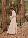 National Wind Embroidery Loose Holiday Cotton And Linen Split Maxi