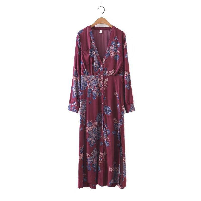 Boho Floral V neck buttons Side Split Beach vestidos Dress