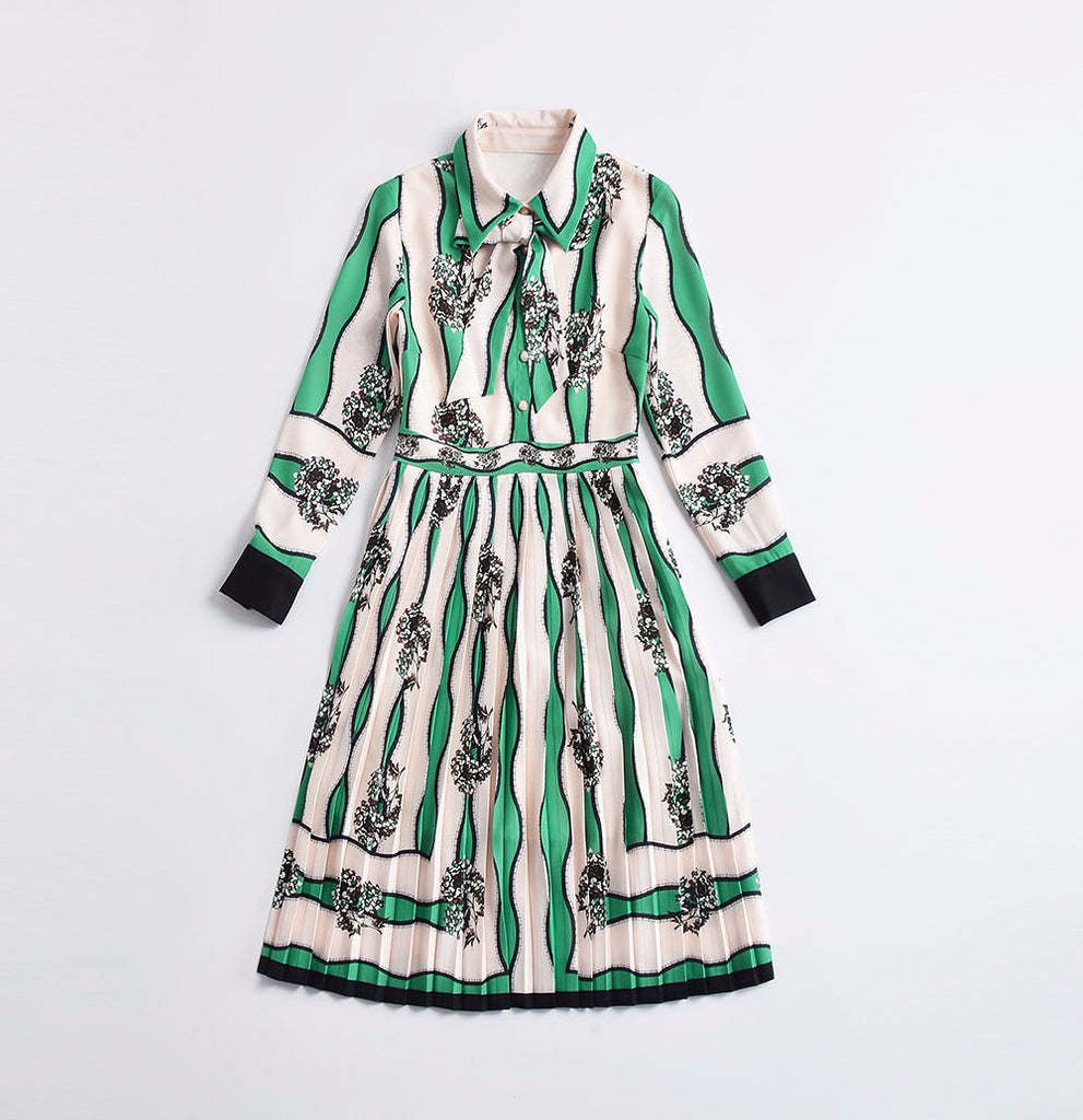 Green White Striped Floral Print Empire Sleeve Vintage Midi Dress
