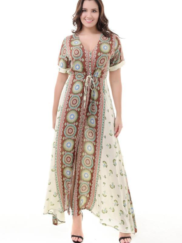 Bohemian Holiday Maxidress One-row Button-up Large Size Plus style
