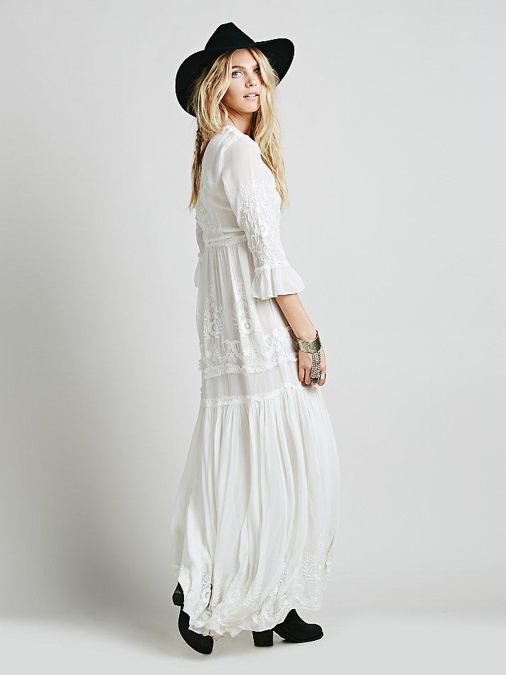 White Long Sleeve Bohemian Dress
