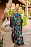 V-neck bat sleeve print Boho Floral dress