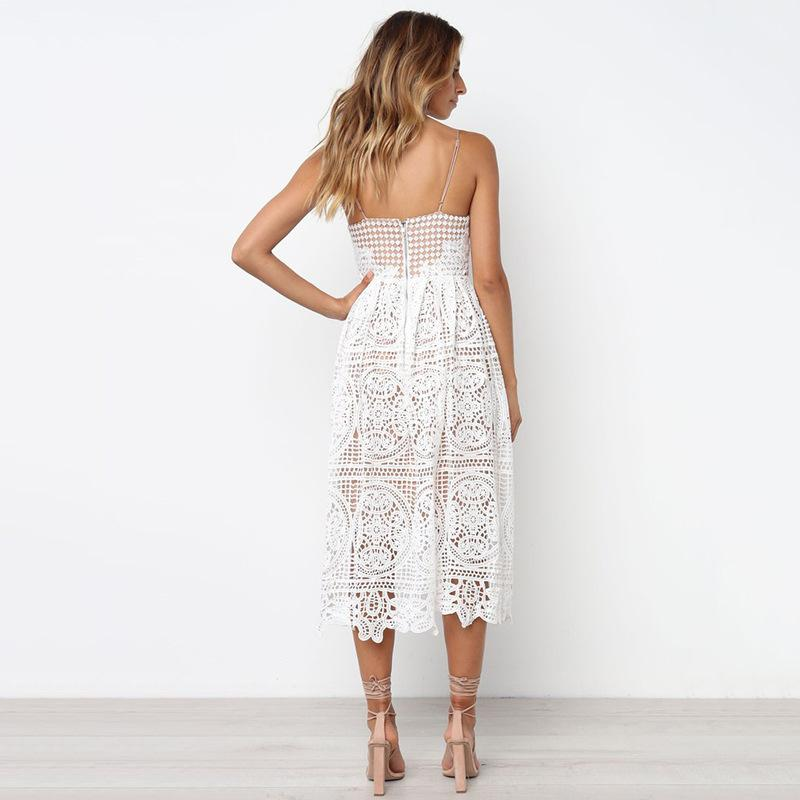 Bohemian Strap Hollow Sleeveless White Dress