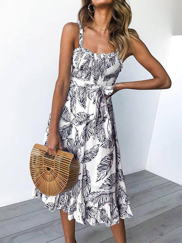 Bohemia Floral Printed Vocation Beach Midi Dress