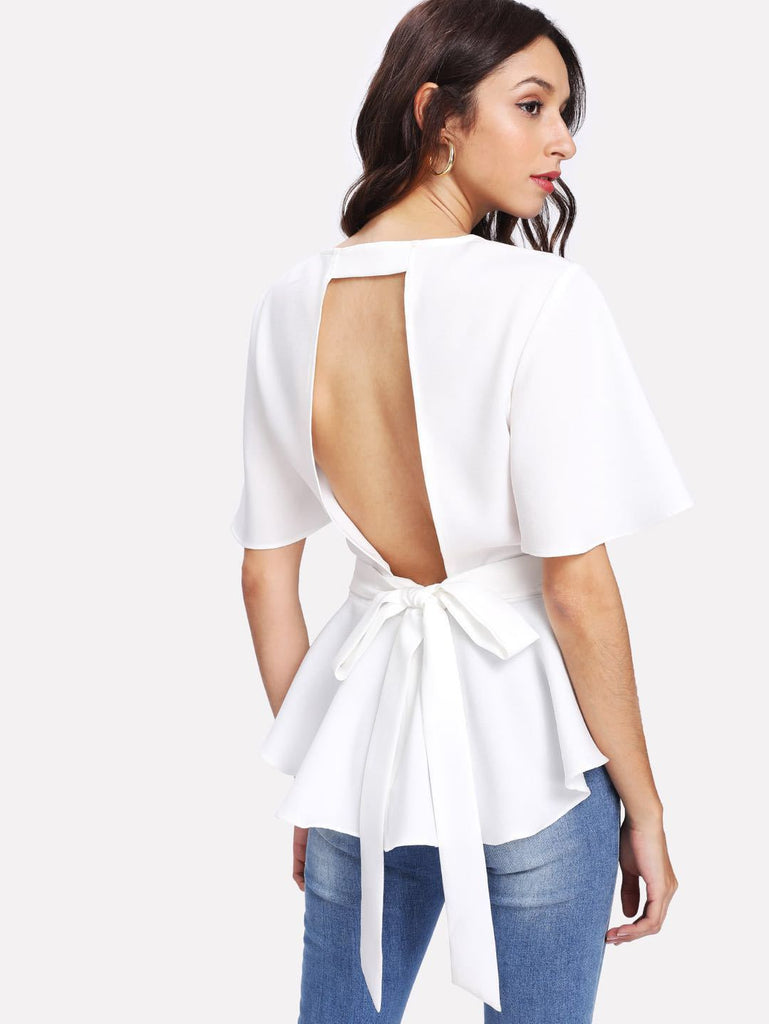 Fashion Ruffled Wild Shirt O neck Top
